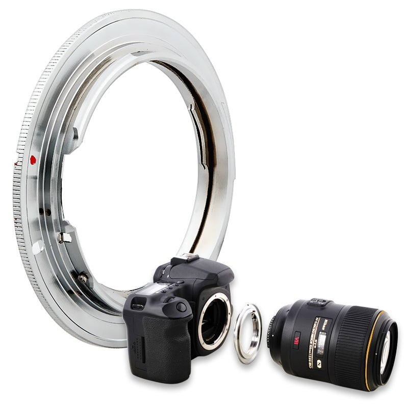 INSTEN Copper with Silver-finish Nikno Lens to Canon EOS EF Camera Adapter