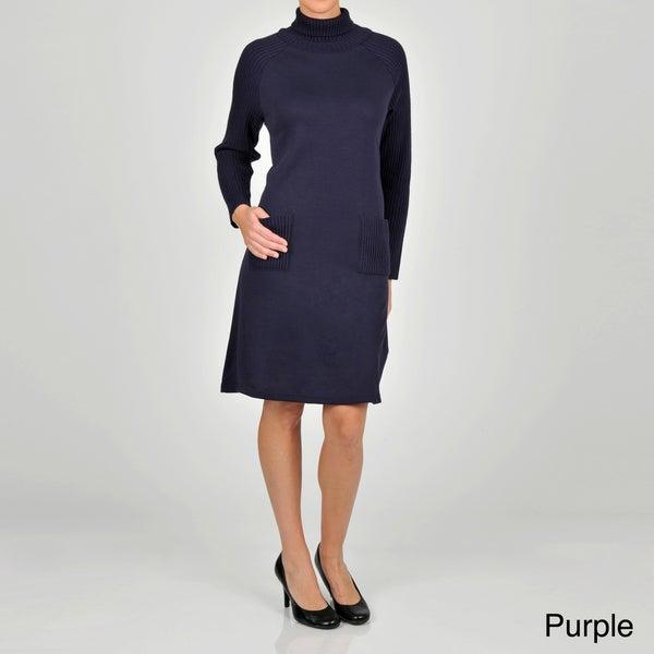 Lennie for Nina Leonard Women's Turtleneck Sweater Dress