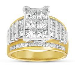 Eloquence 14k Gold 3ct TDW Princess Cut Pave Diamond Ring (G-H, I1)