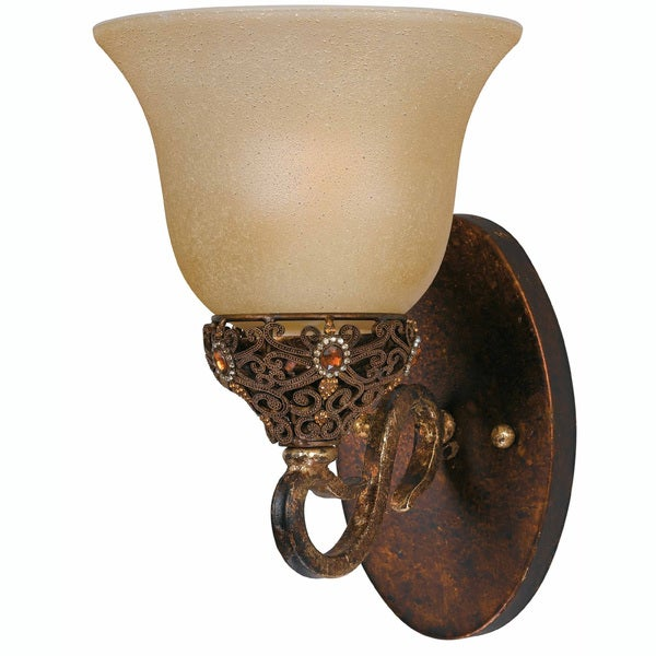 Crown Jewel Antique Gold 1-Light Wall Sconce