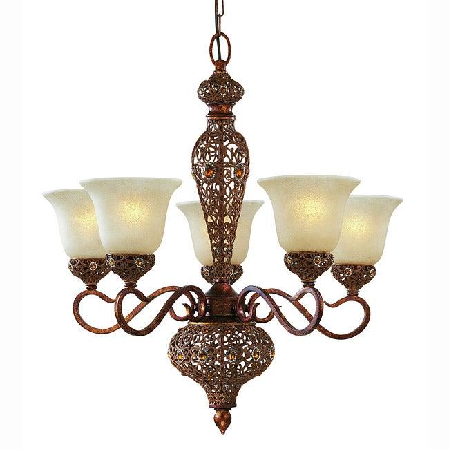 Triarch International Crown Jewel 5-light Antique Gold Chandelier
