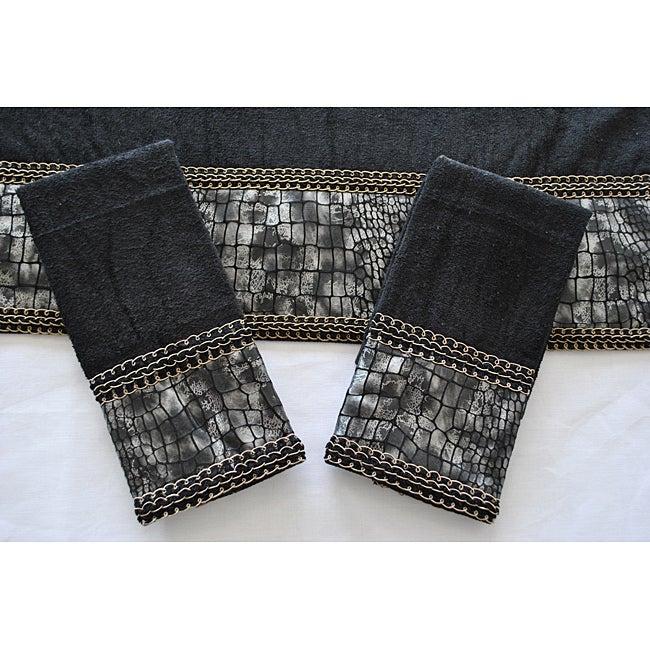 Sherry Kline 'It's a Croc' Black Decorative 3-piece Towel Set