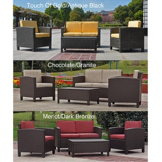 Saint Maarten Resin Wicker Upholstered 4-Piece Outdoor Set