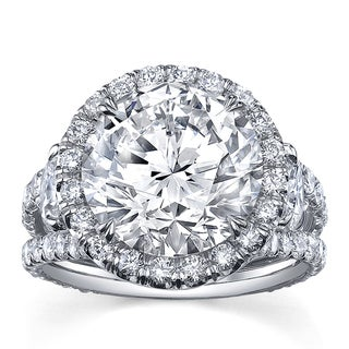 Platinum 7 1/2ct TDW Certified Round Cut Diamond Ring (F-G, SI2)