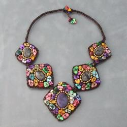 Multicolor Mother of Pearl and Labradorite Cotton Necklace (Thailand)