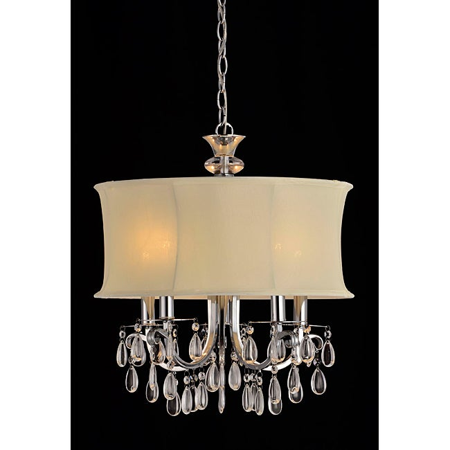 White Shade 5-light Crystal Chandelier