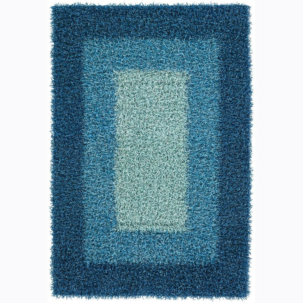 Hand-woven Mandara Casual Blue Shag Rug (5' x 7'6)