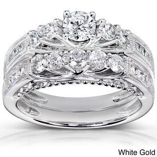 Annello 14k Gold 1 1/4ct TDW 5-stone Diamond Bridal Ring Set (H-I, I1-I2)