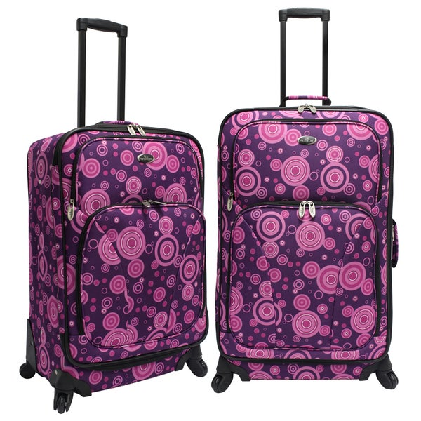 U.S. Traveler by Traveler's Choice Purple/Pink Bubbles 2-piece Spinner Checked Luggage Set