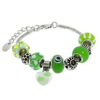 Eternally Haute Silver Overlay Murano-style Glass Charm Bracelet