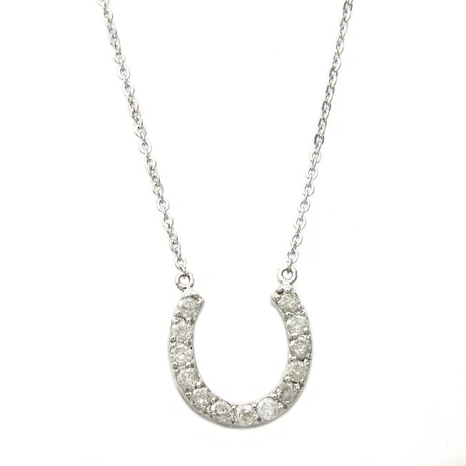Beverly Hills Charm Sterling Silver 1/4ct TDW Diamond Horseshoe Necklace (H-I, I2)