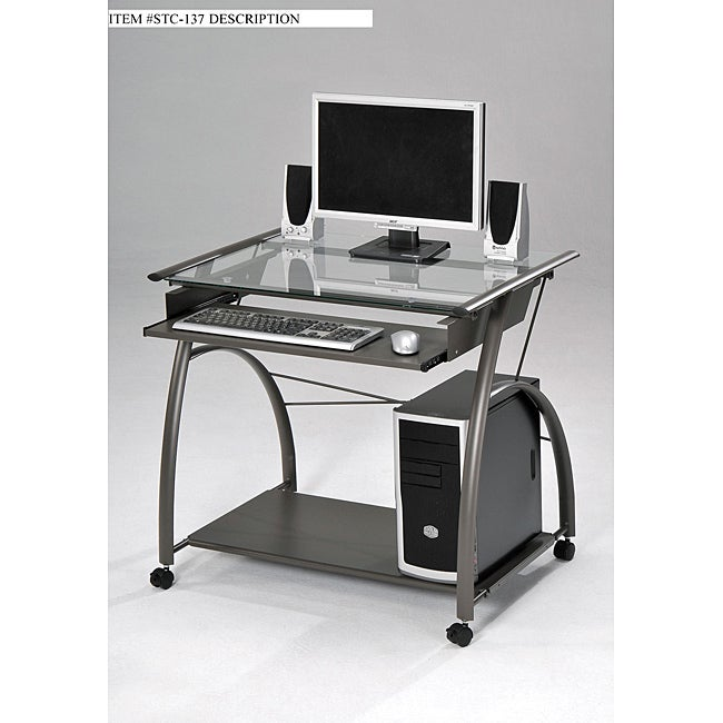 Glass and metal computer desk overstock shopping great deals on desks - Metal and glass desks ...