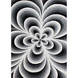 Alliyah Handmade White Flowers New Zealand Blend Wool Rug (8' x 10')