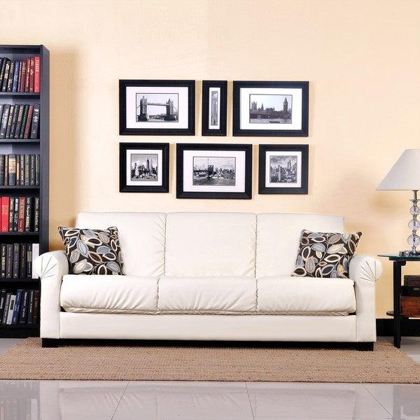 Portfolio Rio Convert-a-Couch Almond Renu Leather Rolled Arm Futon Sofa Sleeper