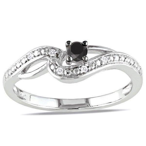 Haylee Jewels 10k White Gold 1/6ct TDW Black-and-white Round-cut Diamond Ring (H-I, I2-I3)
