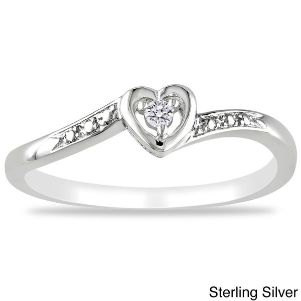 Haylee Jewels Sterling Silver or Rose Plated Diamond Accent Heart Ring