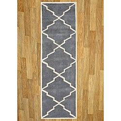 Alliyah Handmade Bluish-Grey New Zealand Blend Wool Rug (2.5' x 8')