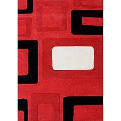 Alliyah Handmade Red New Zealand Blend Wool Rug (8' x 10')