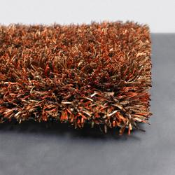 Handwoven Orange/Taupe/Brown Mandara Shag Rug (9' x 13')
