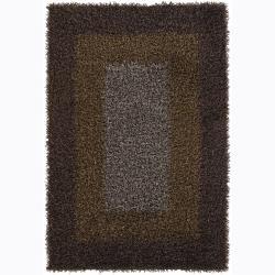 Handwoven Gold/Taupe/Brown Mandara Shag Rug (9' x 13')