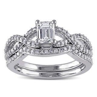 Miadora 14k White Gold 1ct TDW Diamond Ring Set (G-H, I1-I2)