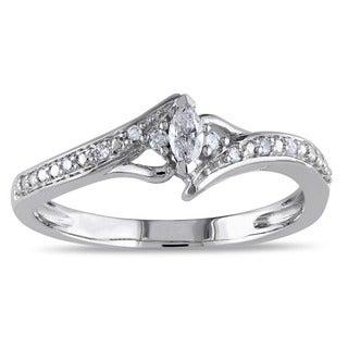 Miadora 10k White Gold 1/6ct TDW Marquise-cut Diamond Ring (G-H, I2-I3)
