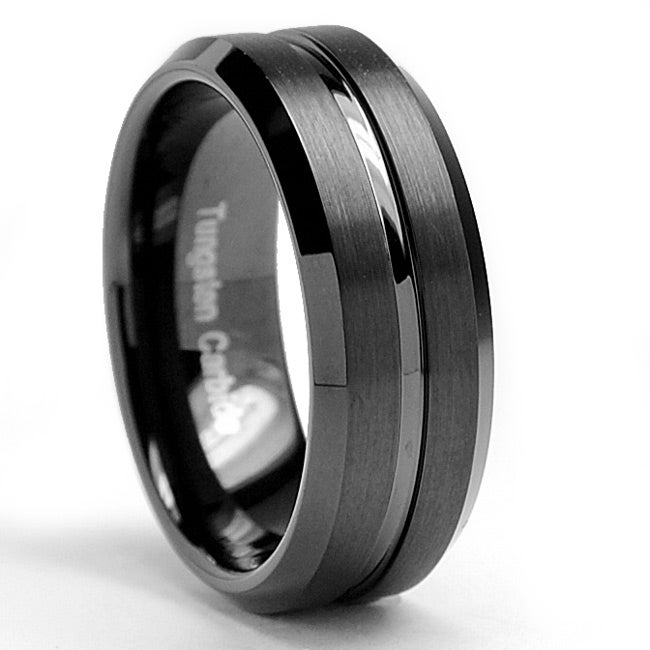 Men's Tungsten Carbide Brushed and Polished Black-plated Ring (8 mm)