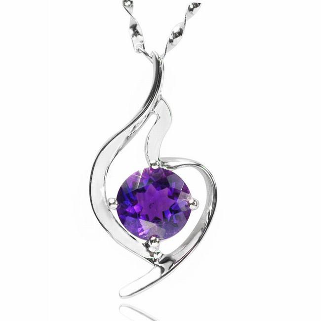 De Buman Sterling Silver Amethyst Necklace