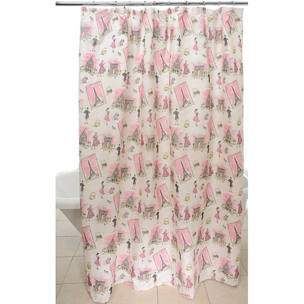 Tres Chic Pink Waverly Shower Curtain