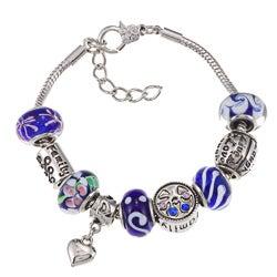La Preciosa Silverplated Blue Glass Bead Charm Bracelet