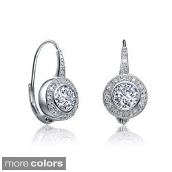 Collette Z Sterling Silver Clear Cubic Zirconia Leverback Earrings