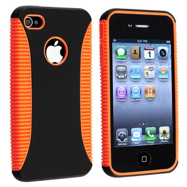 Orange TPU/ Black Plastic Hybrid Case for Apple iPhone 4/ 4S