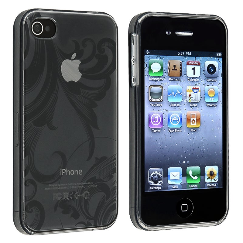 Clear Smoke Flower TPU Rubber Skin Case for Apple iPhone 4/ 4S