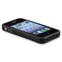 Black TPU/ Plastic Hybrid Case for Apple iPhone 4/ 4S