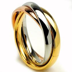 Oliveti Stainless Steel Tri-color Love Ring Wedding Band