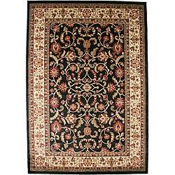 Traditional Oriental Keshan Black Area Rug (7'10 x 9'10)
