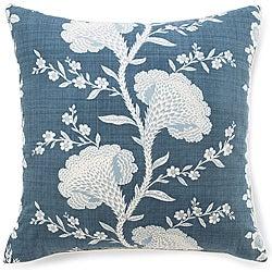 Geisha Slate Blue Cotton Pillow
