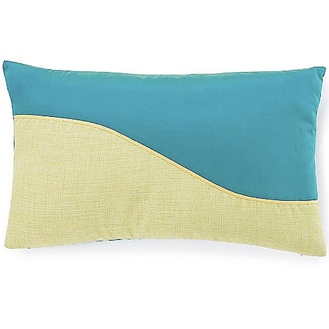 Green/Aqua Wave Decorative Pillow with a Removable Cover