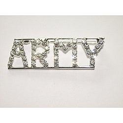 Silvertone 'ARMY ' Crystal Pin