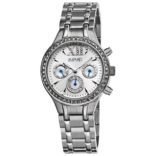 August Steiner Women's Crystal Multifunction Silvertone Bracelet Watch