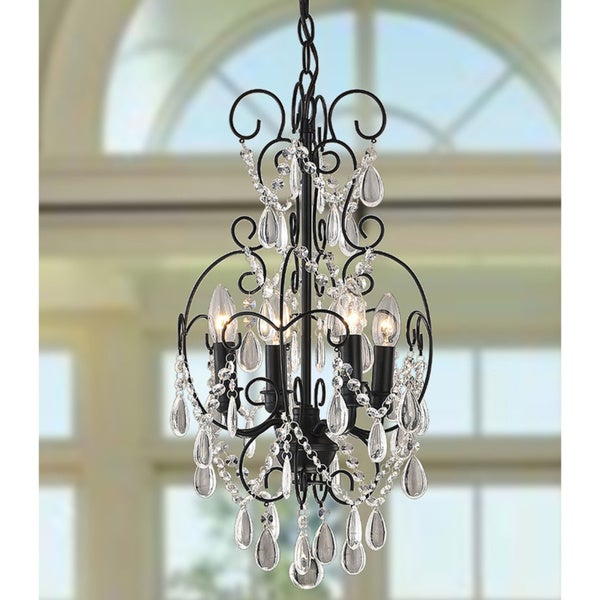 'Dainty' Black and Crystal 4-light Chandelier
