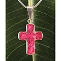 Sterling Silver Hot Pink Flowers Bouquet Cross Necklace (Mexico)