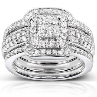 Annello 14k White Gold 3/4ct TDW Diamond 3-piece Bridal Ring Set (H-I, I1-I2) with Bonus Item