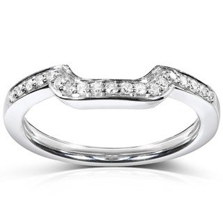 Annello 14k White Gold 1/10ct TDW Diamond Curved Wedding Band (H-I, I1-I2)