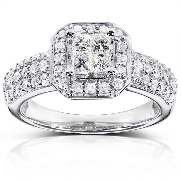 Annello 14k White Gold 3/4ct TDW Diamond Engagement Ring (H-I, I1-I2)