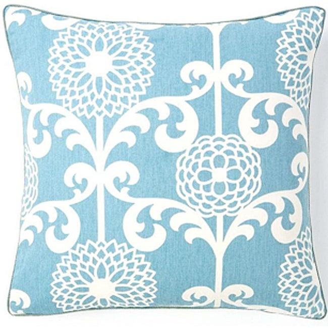 Floret Sky 20x20-inch Cotton Decorative Pillow