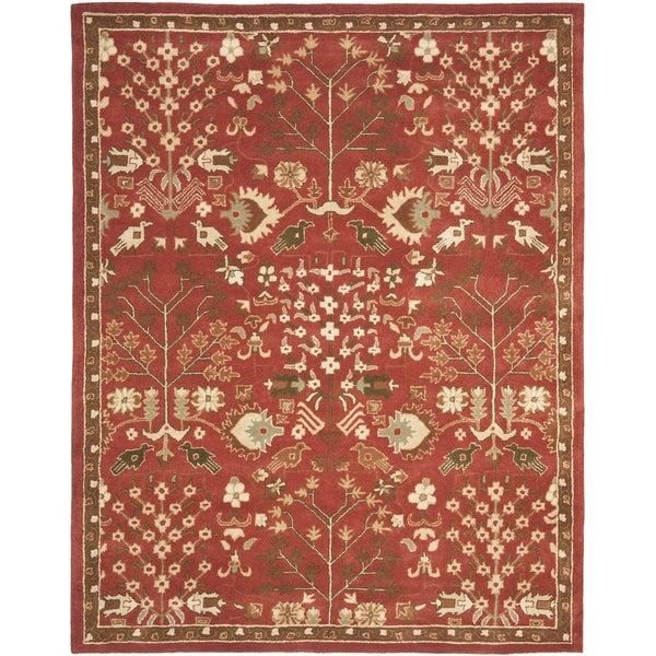 Safavieh Handmade Heritage Tree of Life Red Wool Rug (7'6 x 9'6)