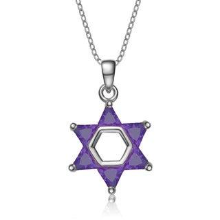 Collette Z Sterling Silver Purple Cubic Zirconia Star of David Pendant