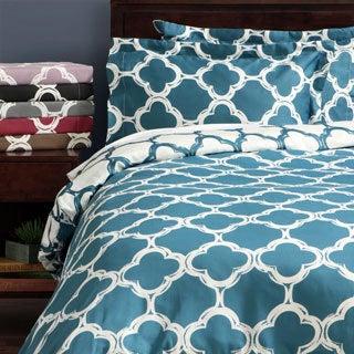 Lyon 300-thread Count Cotton Percale Patterned 3-piece Duvet Cover Set