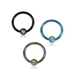 Supreme Jewelry Titanium Crystal Stone Nose Ring (Pack of 3)